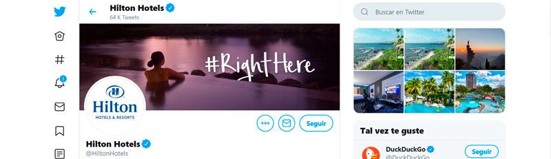 Captura de pantalla del perfil de Twitter de Hilton Hotels