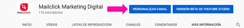Botón para personalizar canal