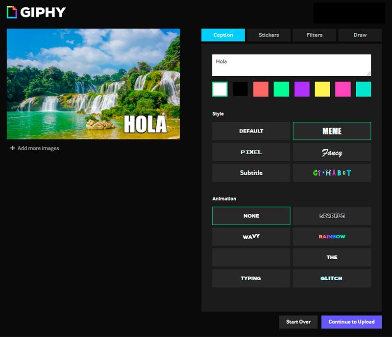 Captura de pantalla de las herramientas para personalizar un gif
