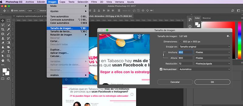 Captura de pantalla del programa photoshop donde se muestra como cambiar el tamaño de la imagen