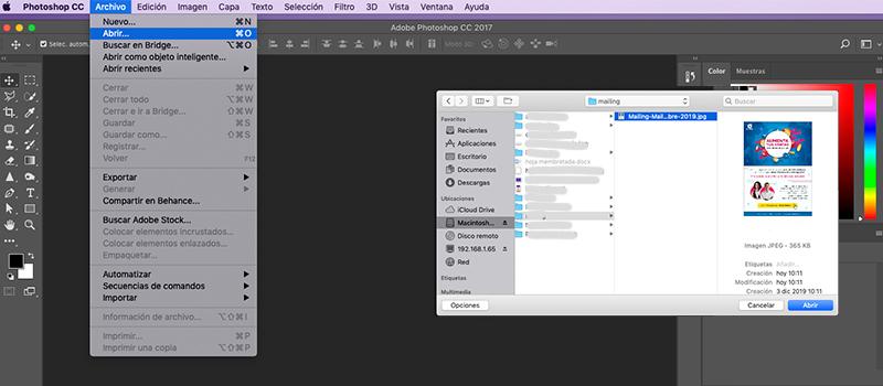 Captura de pantalla del programa photoshop donde se muestra cargar la imagen