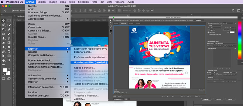 Captura de pantalla del programa photoshop donde se muestra cómo optimizar la imagen
