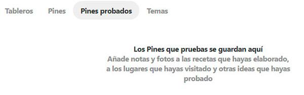 Captura de pantalla de los pines probadosPines probados en Pinterest