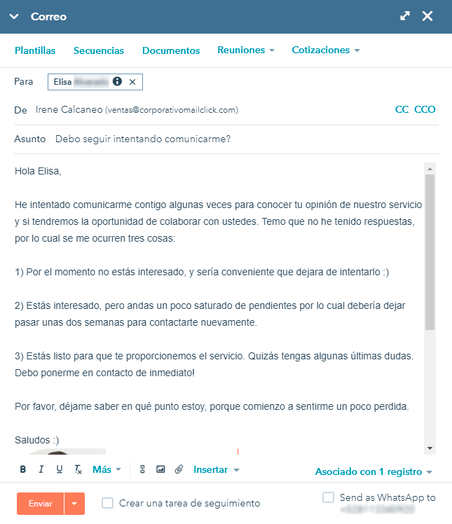 ejemplo de correo de seguimiento