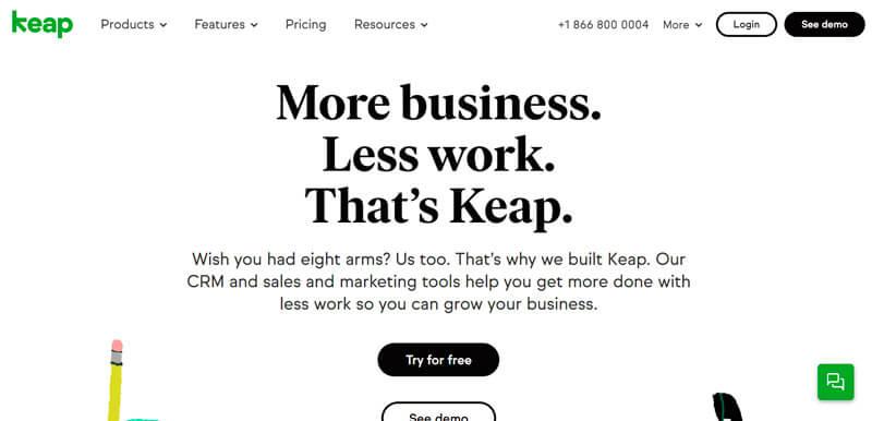 Captura de pantalla de la página de inicio de Keap