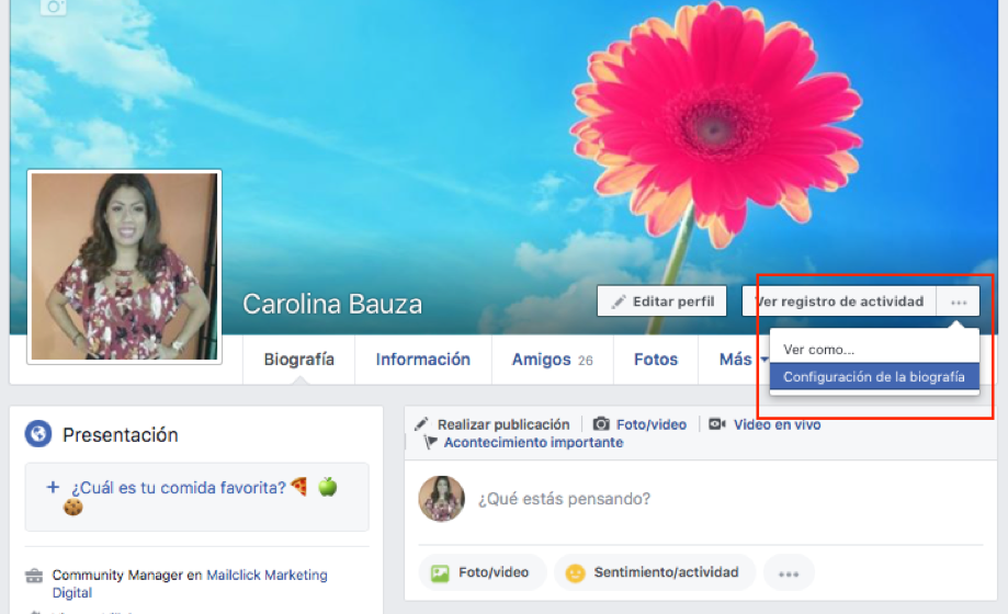 Captura de pantalla del primer paso para cambiar el nombre a un perfil de facebook