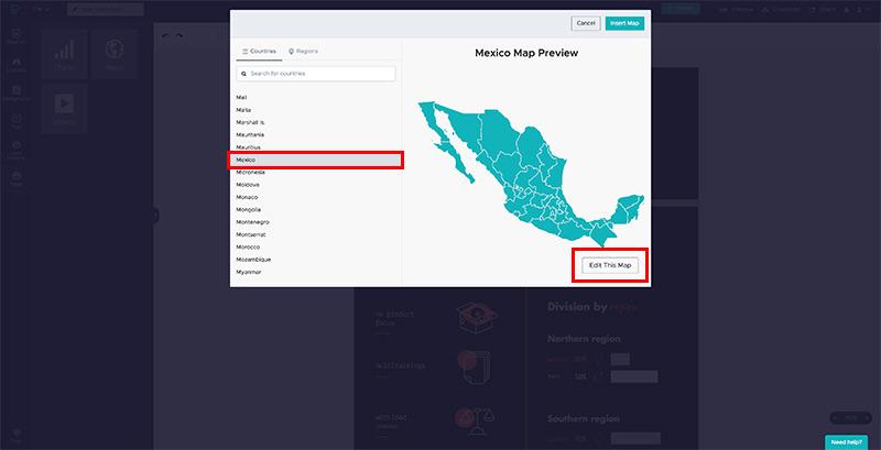 Programas para hacer infografías: inserta un mapa en Piktochart