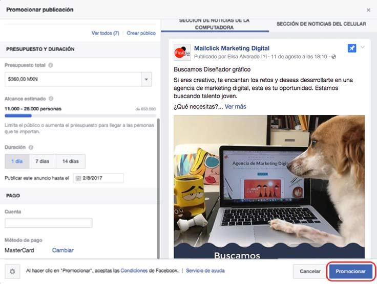 Paso 4: promociona tu anuncio de Facebook