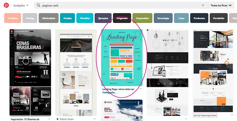 Captura de pantalla señalando el pin en el feed de Pinterest