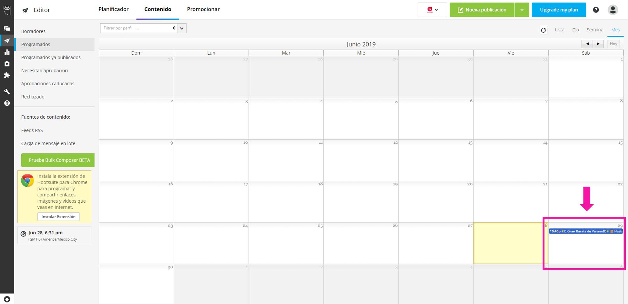 Captura de pantalla ejemplo de publicación programada en el calendario