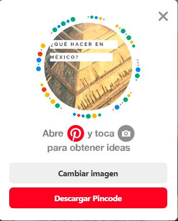 Captura de pantalla del pincode de Pinterest