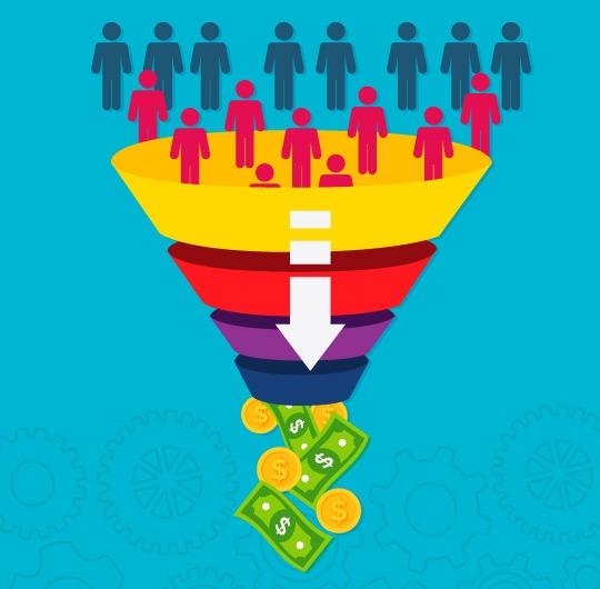 Representación gráfica del trabajo que hace una agencia de marketing online