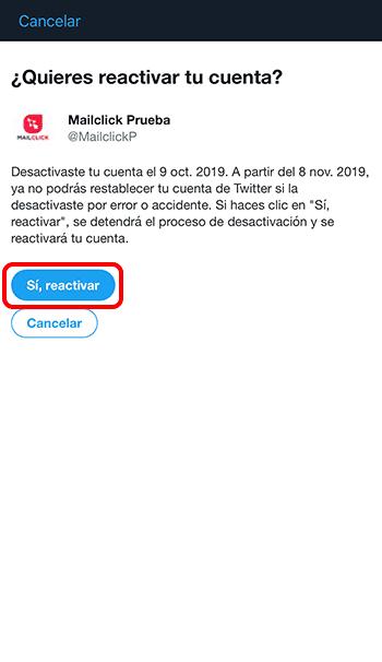 Captura de pantalla de página para reactivar una cuenta de Twitter