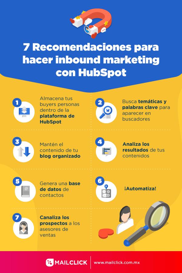 Infografía 7 Reomendaciones para hacer Inbound Marketing con Hubspot
