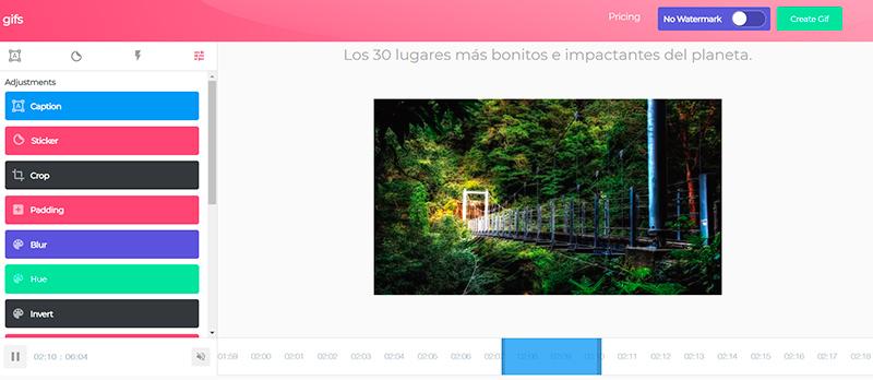 Captura de pantalla de la barra de ajustes, la barra de tiempo y la previsualización de la imagen