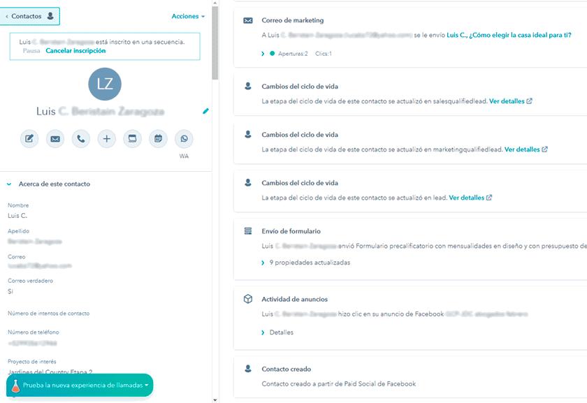 ejemplo de registro de actividades de seguimiento automatico