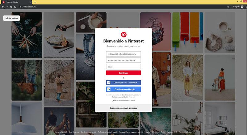 Captura de pantalla de un registro en la cuenta de Pinterest