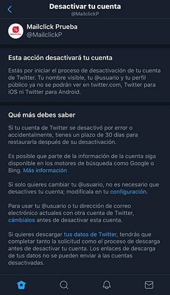Captura de pantalla de sección informativa para desactivar una cuenta de Twitter