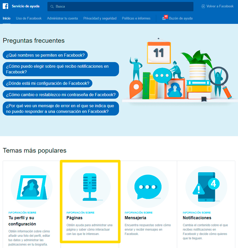 Captura de pantalla para abrir sección de páginas y verificar cuenta de Facebook