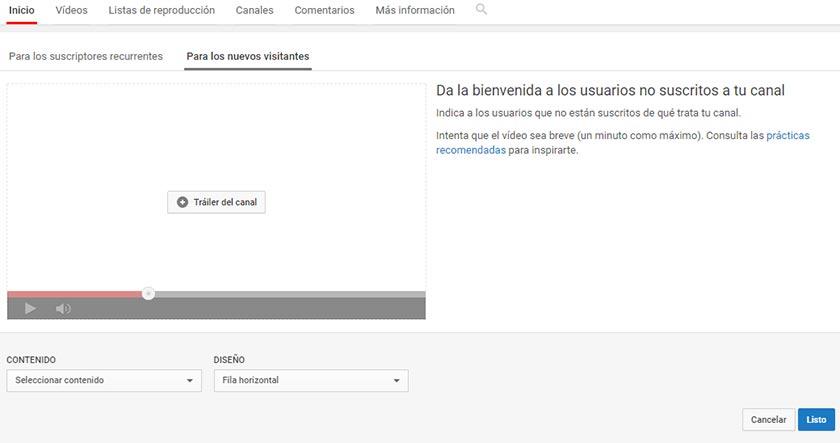 Configuración de sección para nuevos visitantes en un canal de Youtube