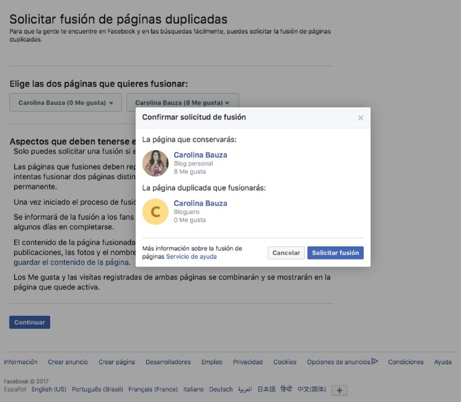 Captura de pantalla del segundo paso para fusionar dos fan page de facebook