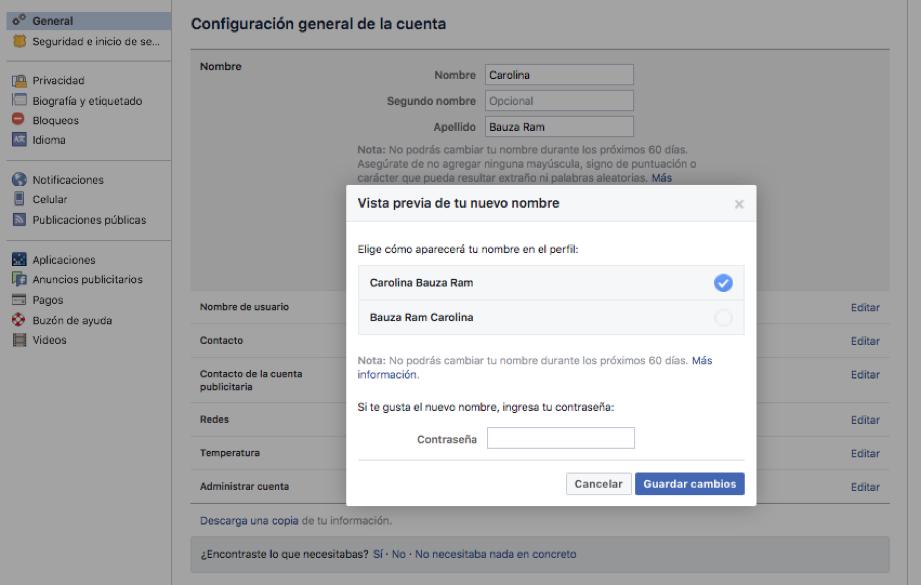 Captura de pantalla del segundo paso para cambiar el nombre a un perfil de facebook