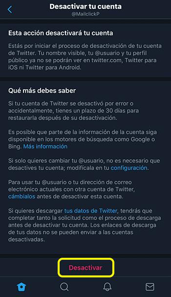 Captura de pantalla sección desactivar tu cuenta, seleccionando la opción desactivar