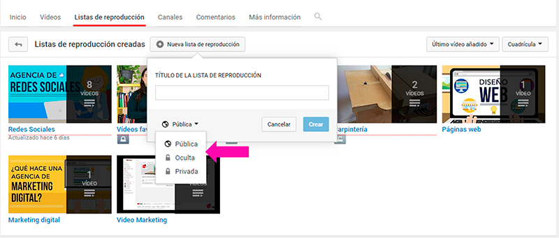 Captura de pantalla para seleccionar el modo de las listas de reproducción