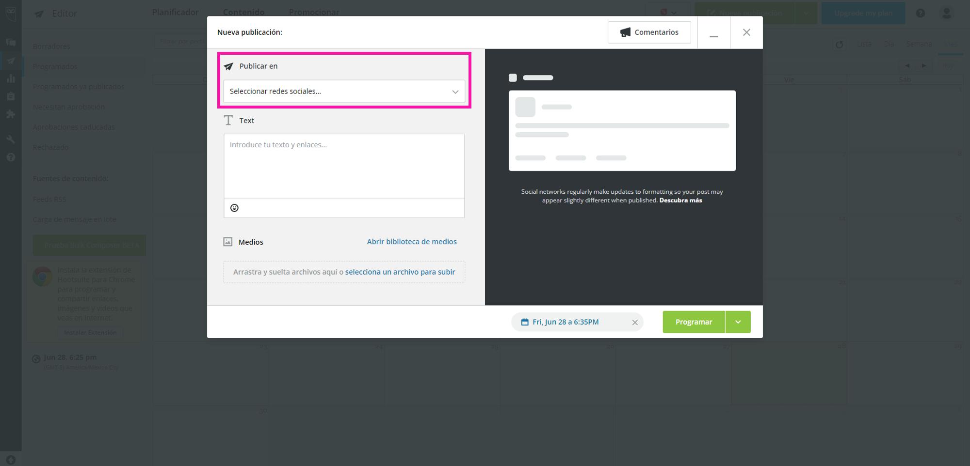 Captura de pantalla mostrando el lugar para seleccionar la red social