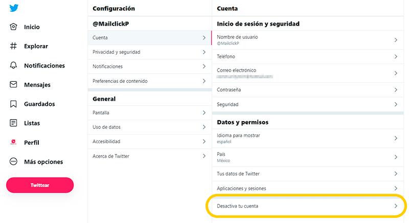 Captura de pantalla del menú de Twitter para desactivar la cuenta
