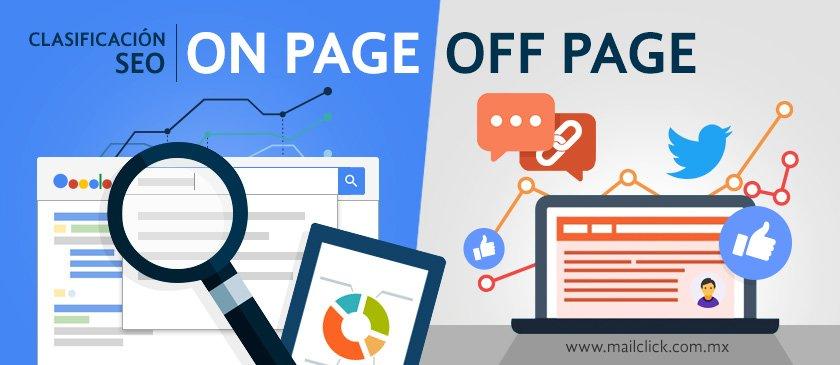 Clasificación del SEO en on page y off page