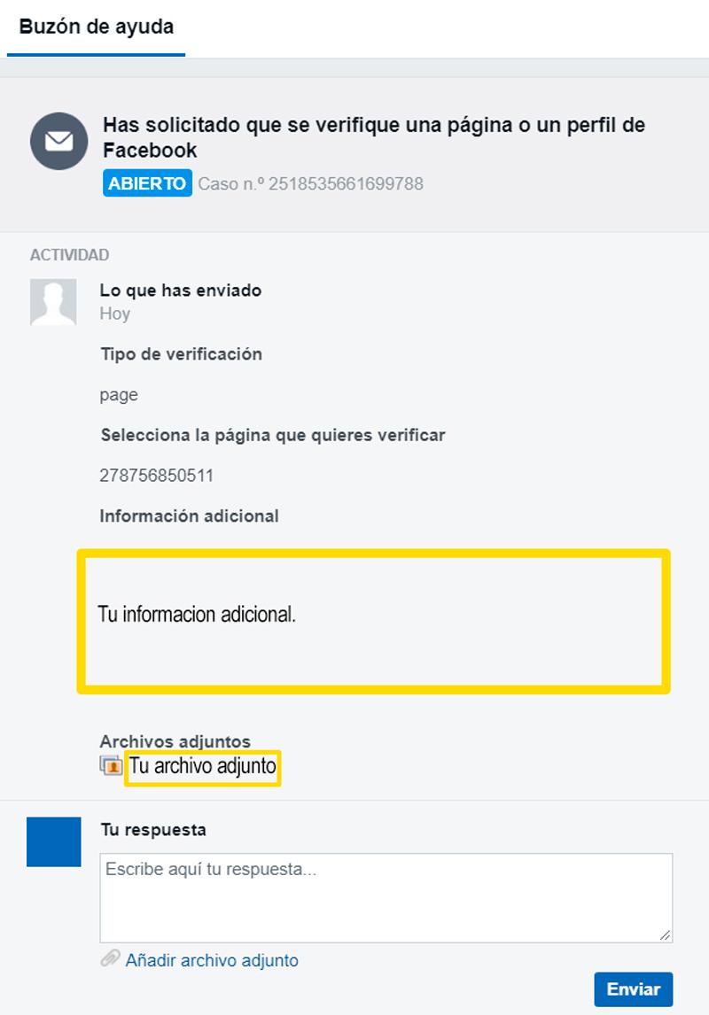 Captura de pantalla para de solicitud de verificación de página de Facebook