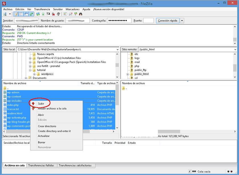 Subiendo los archivos de instalación de WordPress a tu hosting