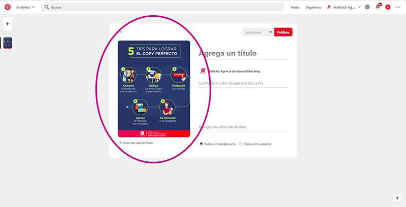Captura de pantalla señalando dónde subir la imagen del pin