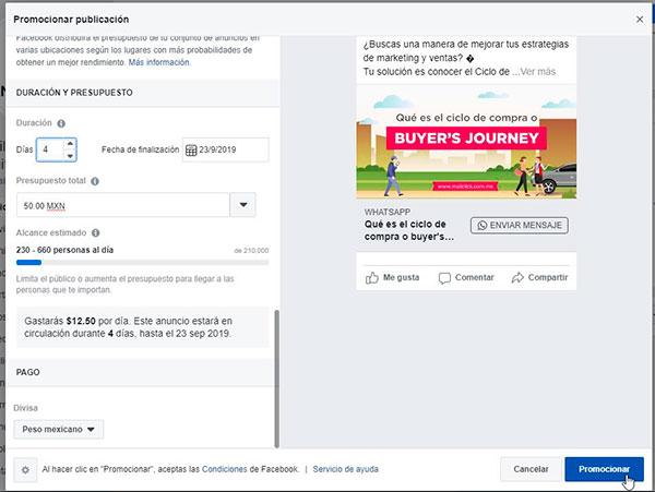 Captura de pantalla de anuncio de botón de WhatsApp listo para promocionar