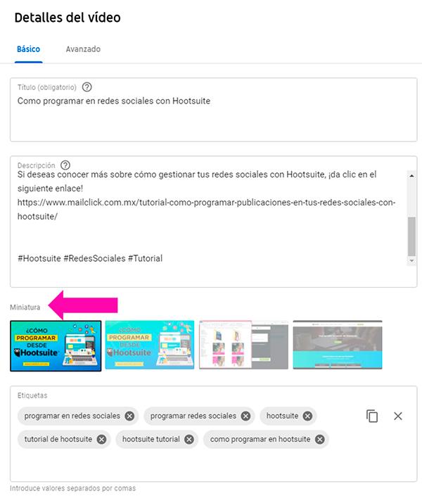 Captura de pantalla del thumbnail del video