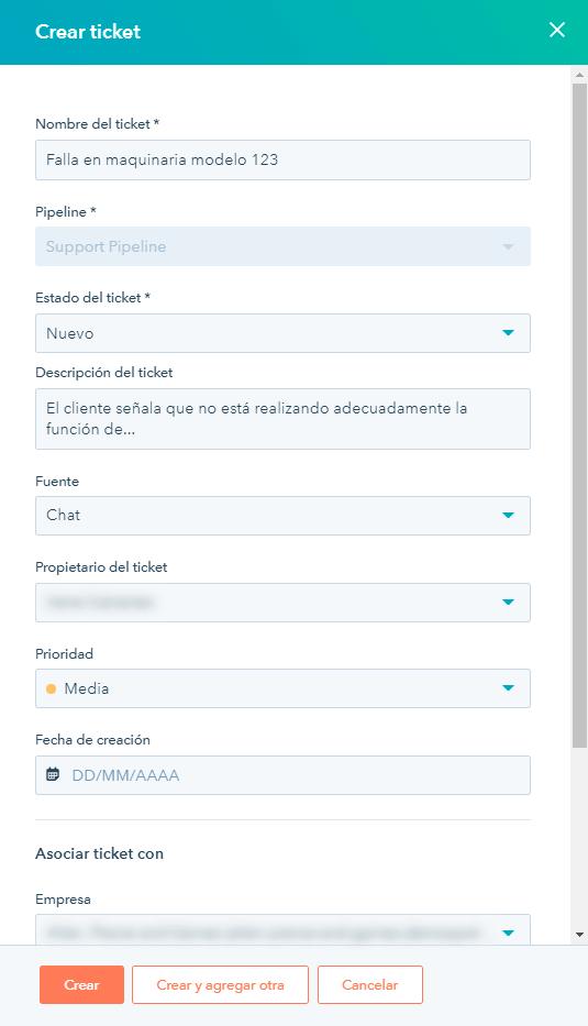 Vista de creación de ticket de servicio al cliente en hubspot