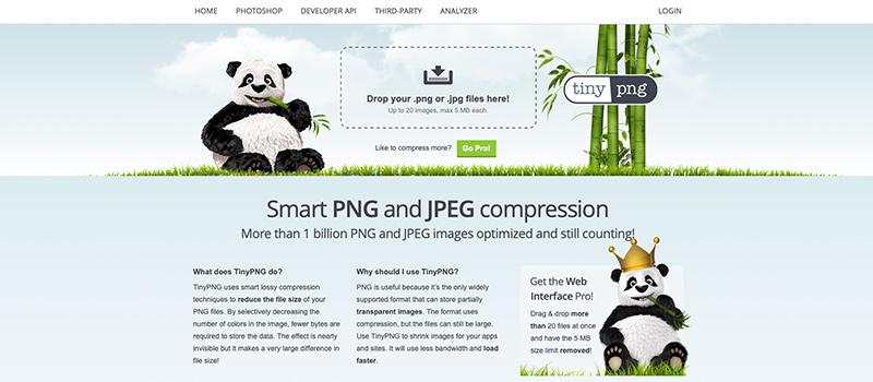 Captura de pantalla de la página TinyJPG