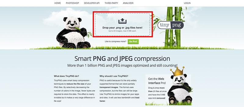Captura de pantalla de la página Tiny donde se muestra como cargar la imagen a optimizar