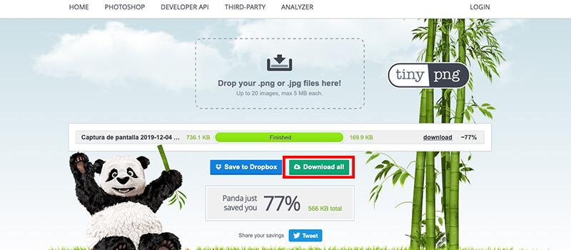 Captura de pantalla de la página Tiny donde se muestra cómo descargar la imagen optimizada