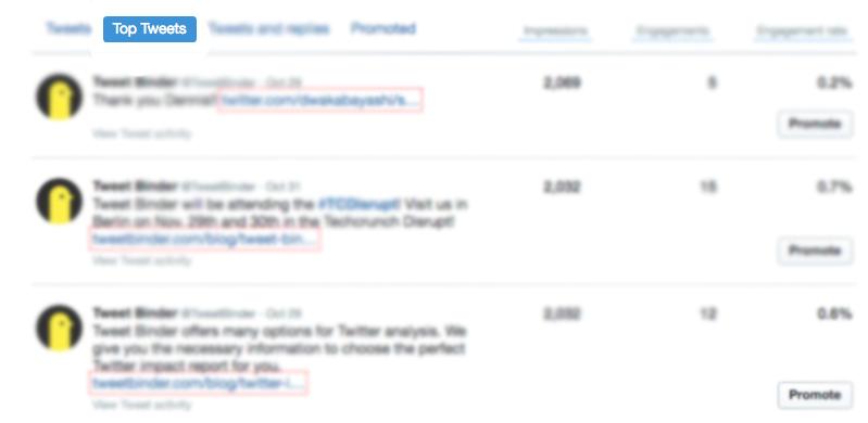 Pestaña de top tweets en el perfil de Tweet Binder