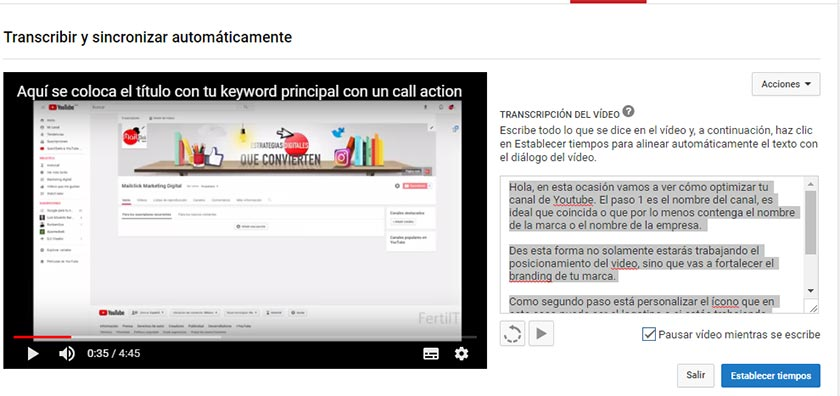 traduciendo video seo youtube