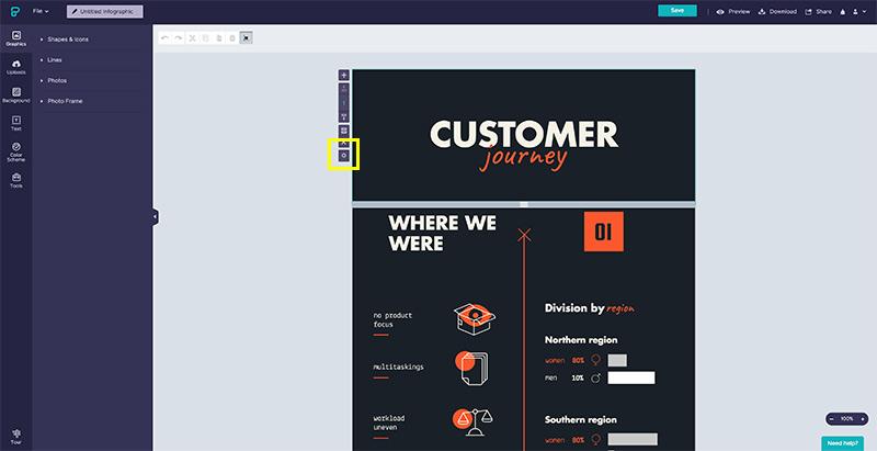 Cambia el tamaño de los bloques de la infografía en Piktochart con el botón de Settings