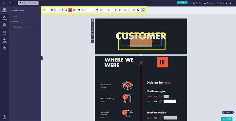 Tutorial cómo hacer una infografía. Paso 3: edita el contenido