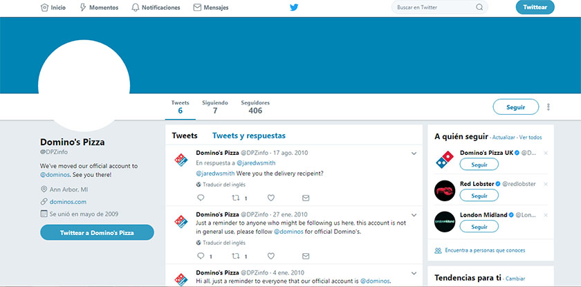 captura de pantalla del perfil de twitter dominos pizza