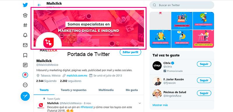 Captura de pantalla de un perfil de Twitter especificando la ubicación de la portada
