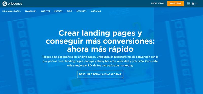 Captura de pantalla de la homepage de Unbounce