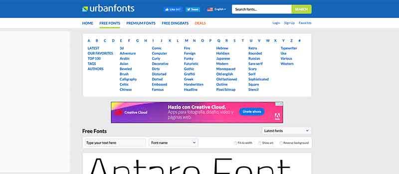 Captura de pantalla de la página Urban Fonts para descargar tipografías y fuentes gratis
