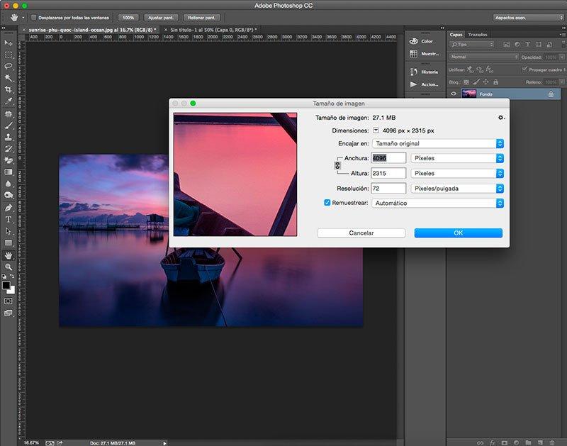 Usa el comando Tamaño de imagen en Photoshop