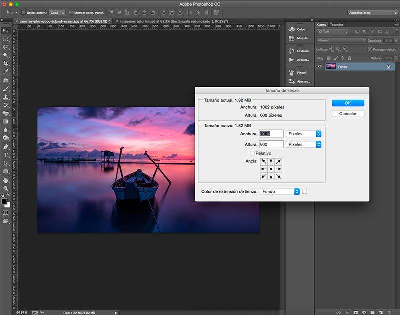 Usa el comando Tamaño de lienzo en Photoshop